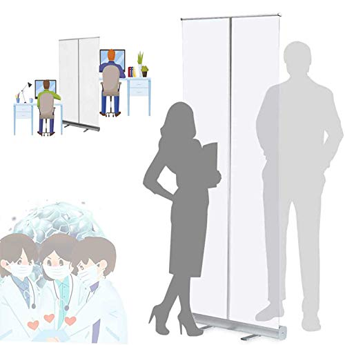 WYCD Clear Roller Banner, Social Distancing Screen, Clear Mobile Sneeze Guard Germ Shield, Protective Screen Plastic Divider 80x200cm 100x200cm