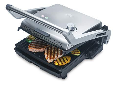 Solis Kontaktgrill mit abnehmbaren Grillplatten, Inklusive Sandwich-Platten, Stufenlose Temperaturregulierung, 1800 Watt, Grill & More + Sandwich (Typ 7952)
