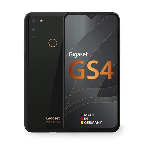 Gigaset GS4 Smartphone - Made in Germany - leistungsstarker 4300mAh Akku mit Schnellladefunktion - 6,3 Zoll Full HD+ V-Notch Display - NFC - 4GB RAM+64GB interner Speicher - Android 10 - Deep Black