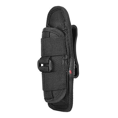 Duty Belt Flashlight Holster for tactical Torch, UltraFire Nylon Flashlight Holder Pouch with 360 Degrees Rotatable Clip Long Type (Upgraded Buckle and Clip)