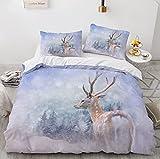 LIANHUAA Juego de ropa de cama de microfibra con estampado de animales en 3D, diseño de árbol, árbol, ciervo, alce, juego de ropa de cama con funda de almohada (3,135 x 200 cm)