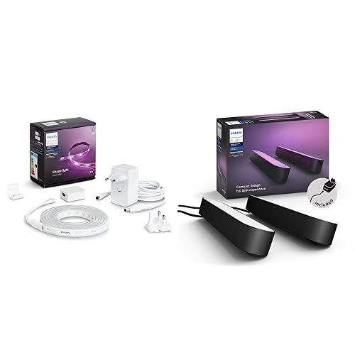 Philips Hue Lightstrip Tira Inteligente LED 2m, con Bluetooth, Luz Blanca y Color + Play Barra de luz regulable, incluye alimentador, 2 unidades