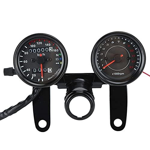 RONGZUN Velocímetro de Motocicleta Universal, Accesorio de Instrumentos Modificado Retro de tacómetro de odómetro Digital LED