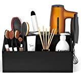 AKTOP Wooden Hair Tool Organizer - Blow Dryer Holder, Hair Styling Tools & Accessories Organizer, Bathroom Vanity Countertop Storage for Hair Dryer, Flat Irons, Curling Irons - Hold Hot Tools, Black