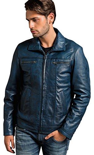 Urban Leather Calvin - Herren Lederjacke, Ocean Blue, Größe: M