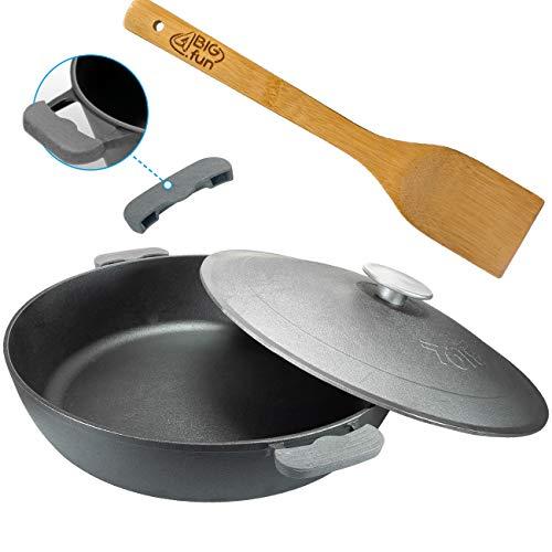 Padella in ghisa da 50 cm con coperchio + spatola per cottura a induzione, padella per arrosti, stufati, stufati, resistente al forno