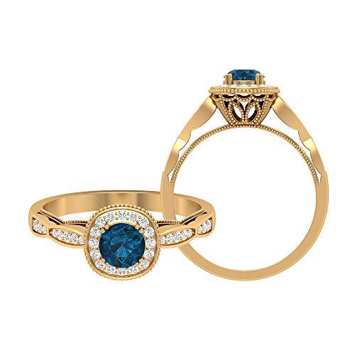 Rosec Jewels - 14 Kt Gelbgold Runder Brilliantschliff Rund Leicht Getöntes Weiß/Top Crystal (I) Blue Diamant Blautopas – London.