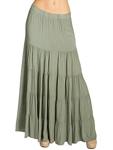 Caspar RO020 Falda Plisada Larga para Mujer/Falda de Verano con Pretina Elástica, Talla:L/XL, Color:Oliva