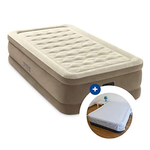 RAVIDAY Pack Matelas électrique Gonflable 1 Place Intex Ultra Plush Fiber-Tech + Drap Housse