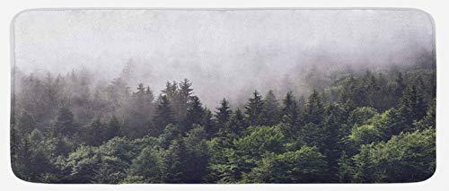 ABAKUHAUS Niebla Tapete para Cocina, Pendiente escénica del Paisaje Forestal, con Superficie de Felpa Estampada Dorso Antideslizante, 48 cm x 120 cm, Multicolor
