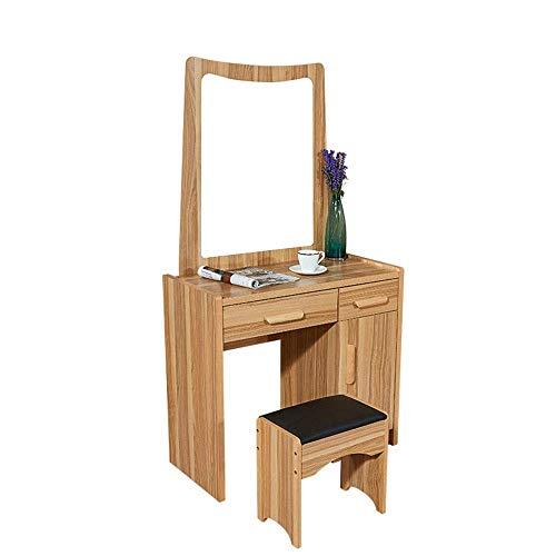 Tägliche Ausrüstung Tischset für das Schlafzimmer Moderner Schreibtisch Schreibtisch im Holzstil Spiegel und Hocker Ein stilvolles und praktisches modernes Möbelstück (Farbe: Holzfarbe Größe: 80 *