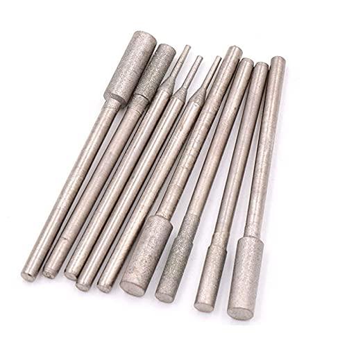 6 piezas 1-4 mm pulido cilíndrico recubierto de diamante cabezales de pulido brocas tallado rebabas para herramientas rotativas de ágata de jade, 2,5 mm, 600