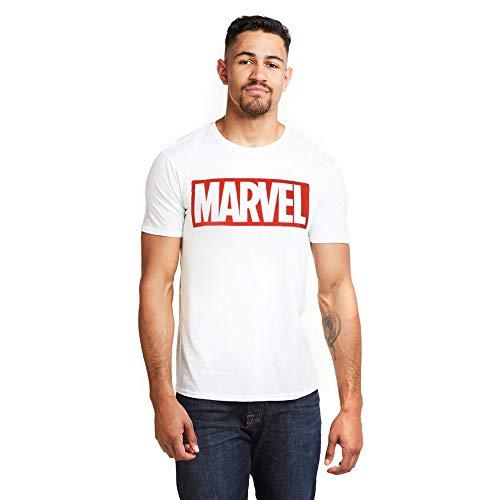 Marvel Comics-Core Logo T-Shirt, Blanc, M Homme