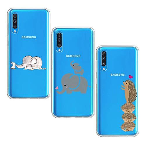 Suhctup [3 Stück Hülle Kompatibel mit Samsung Galaxy A70 Handyhülle TPU Bumper Silikon Transparent Weiche Schlank Schutzhülle Handytasche Gummi Dünn Flexibel Case Handy Soft Back Cover