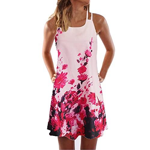 Vestido bohemio vintage de las mujeres de verano sexy sin mangas playa floral impreso corto mini vestido verano más tamaño vestidos túnica