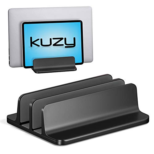 Kuzy Dual Vertical Laptop Stand, 2 Device Holder with Adjustable Dock Vertical Laptop Holder Computer Rack, Aluminum and Nonslip Silicone up to 17.3 inch MacBook Pro Air Notebook Tablet, Black