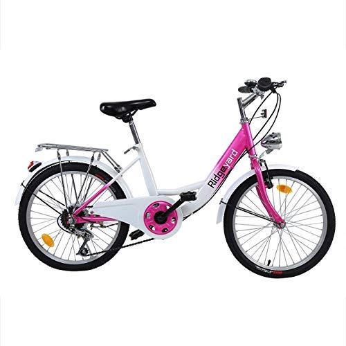 Bicicleta infantil de 20 pulgadas, 6 velocidades, para niños y niñas, para 12 – 16 años, color rosa y blanco