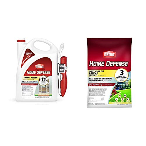 Ortho 0220910 Home Defense Insect Killer for Indoor & Perimeter2 with Comfort Wand Bonus Size, 1.1 GAL & Home Defense Insect Killer for Lawns Granules