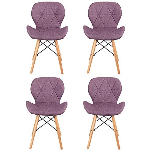 4er Set Esszimmerstühle, mit modernem ergonomischem Design und Beinen aus natürlichem Buchenholz für Esszimmer Wohnzimmer Schlafzimmer Küche, Büro,Balkon, Innenhof usw,Lila