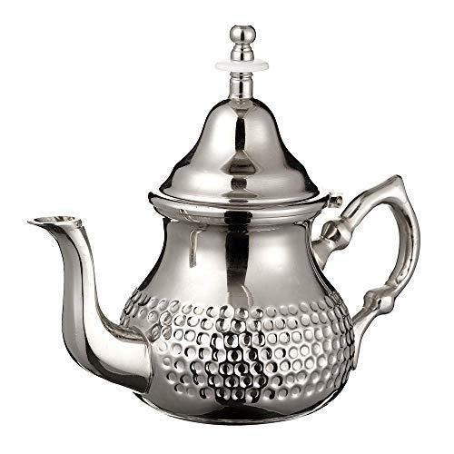 Tetera de plata marroquí perfecta para té de menta incluye cubierta de mango y filtro integrado, auténtica con un diseño clásico martillado, hecha a mano, 500 ml, aproximadamente 5 vasos de té (medianos)