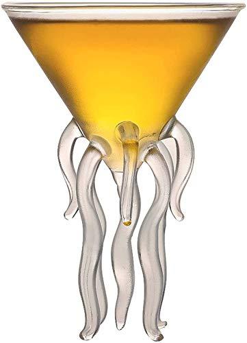Simplicité 130ml De Vin De Whisky Verre Pieuvre Cocktail Verre Martini Verre Concombre De Verre Verre Poulpe Verre Liqueur Verre Verre MUMUJIN (Color : Default)