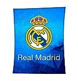 Asditex Manta Rachel Real Madrid 130x170 - Manta de Viaje - Estampado Fondo Azul con el Escudo del Madrid