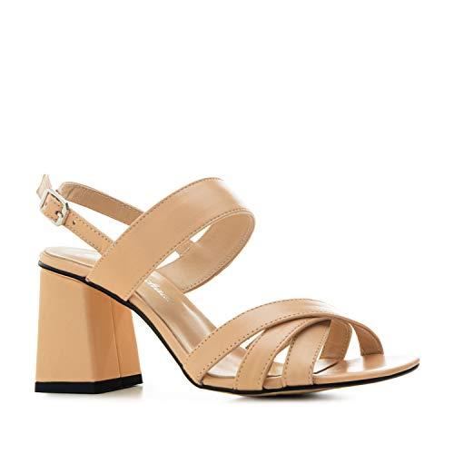Sandalias con tacón Ancho para Mujer/Chica - Mariana - Zapatos de tacón - en Cuero Genuino Andres Machado - Tallas pequeñas de EU 32 a 35 y Tallas Grandes de EU 42 a 45.