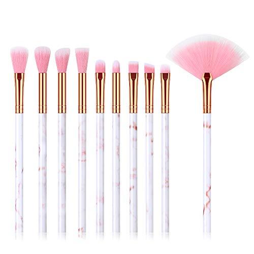 Generies 10 Pcs Ensemble De Pinceaux De Maquillage Fan, Marbre pour Le Visage Ombrage Poudre Fondation Ombre À Paupières Doux Fibre Cheveux Cosmétiques Beauté Kit