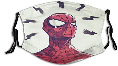 Bandanas Super Hero Spider diseño cara protección boca con dos filtros P-M-2.5 de 5 capas reutilizable lavable ajustable pasamontañas cuello máscara para hombres mujeres al aire libre