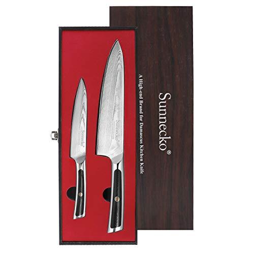 Sunnecko Juego de Cuchillos de Cocina Profesional Damasco 2 Piezas Set Cuchillo Cocina de 20 cm Gyuto Cuchillo Chef, un Cuchillo Multifuncional de 12,7 cm, Acero de Damasco Japonés VG-10 -Serie élite