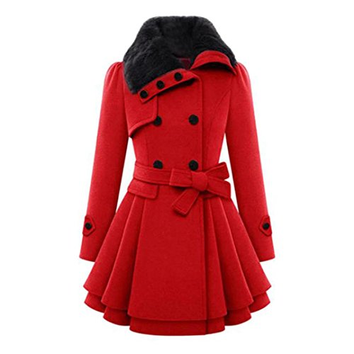 Abrigo Mujer,Grueso Abrigo Mujeres Elegante Chaqueta Abrigos de Invierno (L, Rojo)