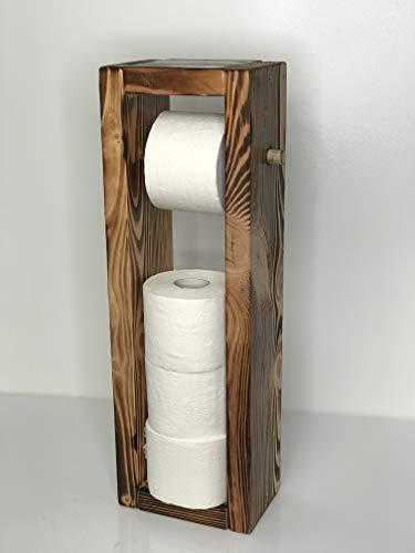 Blockholz-Schmiede Toilettenpapierhalter aus Holz für Badezimmer 4 Rollen Stand - Ständer WC Rollenhalter Freistehend WC Papierhalter Toilettenrollenhalter (Geflammt)