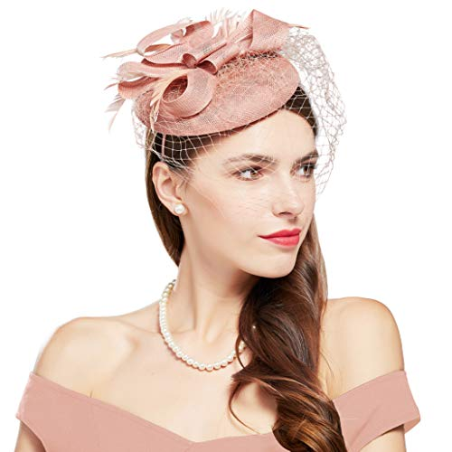 BABEYOND Womens Fascinators Hat Hair Clip Pillbox Hat Tea Party Fascinator Hat with Veil Headband for Cocktail Wedding Hair Accessories (Nude Pink4)
