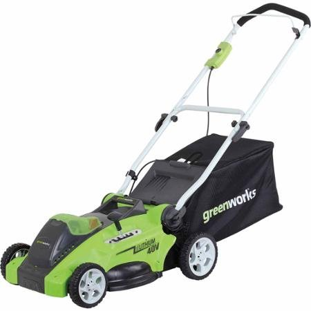 """GreenWorks G-MAX 40-Volt Cordless 16"""" 2-in-1 Mower and 40-Volt 4AH Battery"""