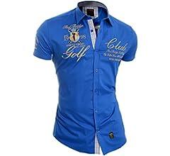 Redbrige Men/'s Designer Embroidered Shirt Short Sleeve Classic Collar Gold Trim