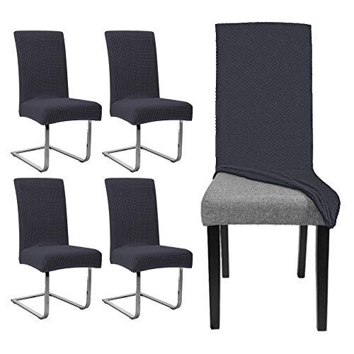 Hengda 4 stück Stretch Stuhlhusse|Universal Wasserdicht Stuhlbezug pflegeleicht|Moderne Langlebig Stuhl Schutzhülle Abnehmbare für Hochzeit Feier, Bankett Und Wohnkultur etc.(Anthrazit)