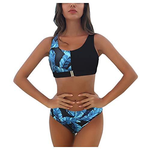 Traje de Baño de Impresión de Plantas para Mujer Bikinis Sexy de Dos Piezas Contiene Tops y Bragas Bañadores sin Aros con Acolchado Ropa de Baño Casual Verano Beachwear Suave Swimsuit Cómodo
