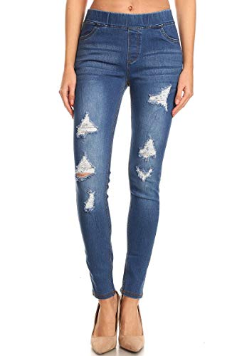 Jvini Women's Pull-On Ripped Destroyed Stretch Skinny Denim Jeggings 1X-Large, Blue-55