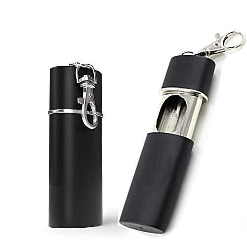 JUNSHUO 2 Pezzi Posacenere Portatile, Mini Posacenere Tascabile, Anti-Odore Ermetico Posacenere da Viaggio con Coperchio e Portachiavi per Fumatori uso esterno, Facile da Pulire, Nero