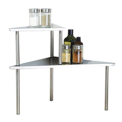 Cook N Home 2-Tier Stainless Steel Corner Storage Shelf Organizer Triangle Triangle Stainless Steel