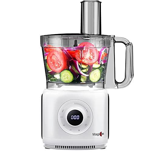 7-in-1 Food Processor, MAGICCOS 14 Cup Digital Food Chopper, 7 Variable Speeds Plus Pulse, 1000Watt, Chopping Kneading Shredding Slicing and Mashing Blades, Pearl White Coating