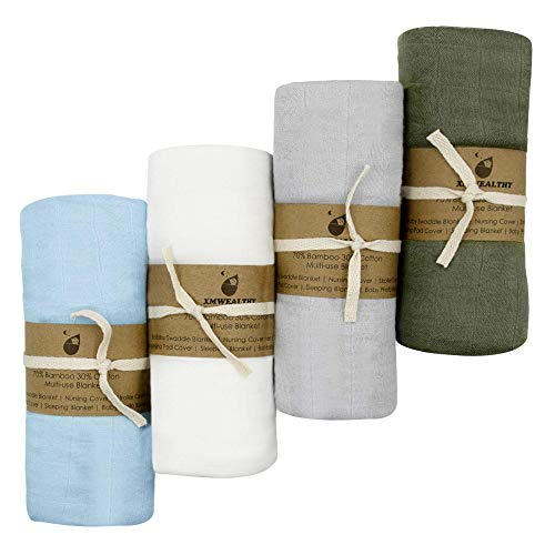 XMWEALTHY 4 Packs Soft Swaddle Blankets Sets 47