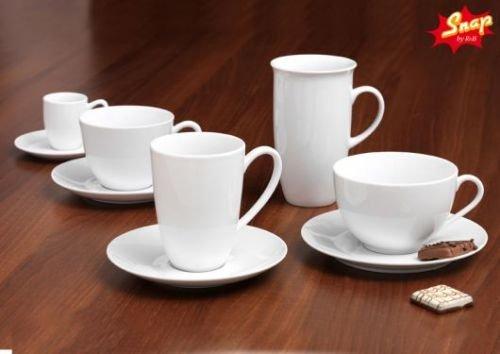 Snap by R&B Kaffee-Serie Bianco weiß Material 4er Cappuccinotassen-Set