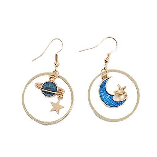 TOOGOO Creativo Azul Universo Pendientes Asimétricos Pendientes Para Mujer Ni?a Accesorios de Oreja Linda Luna Estrella Aretes de Gota de Borla Larga 1#H9431