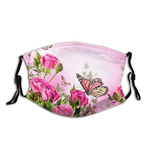 Mascarilla de mariposa volando en la rosa para adultos, unisex, reutilizable, lavable, bandanas de media cara, máscaras faciales a prueba de polvo, montar al aire libre, hombres y mujeres