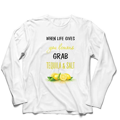 lepni.me Herren T Shirts Wenn das Leben Ihnen Zitronen gibt, greifen Sie zu Tequila und Salz-Zitat (XL Weiß Mehrfarben)