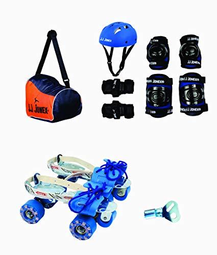 JJ Jonex Senior Attack Adjustable Quad Roller Skates Combo Suitable for Age Group 14 Year and Above with Skating Kit Blue Black (Protection Kit)(Large) & Free Bag
