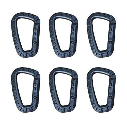 BESPORTBLE 6 stücke multifunktions D Form Bergsteigen Schnalle Tragbare Kunststoff Stahl Klettern Karabiner Hängen Schlüsselanhänger Haken Fit Outdoor (Schwarz)