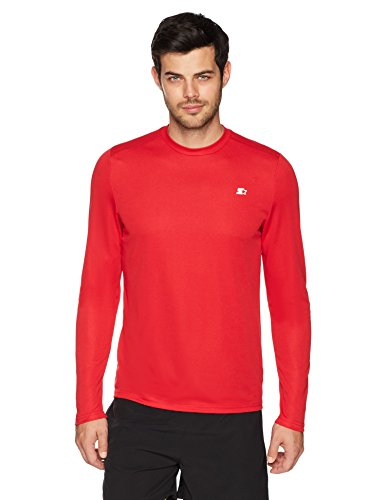 Starter Men's Long Sleeve Tech T-Shirt, Amazon Exclusive, Team Red, Extra Large