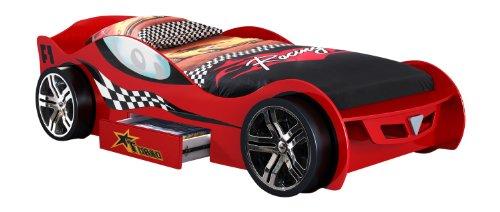 Vipack scmc200r Lit Voiture Silverstone, Env. 225 x 63 x 111 cm, Couchage 90 x 200 cm, laqué aufgedruckte Course – Rouge